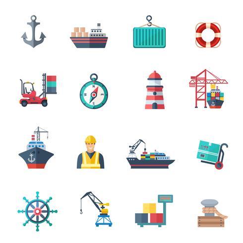 Seehafen Icons Set vektor