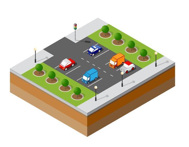 Urban isometrisk parkering vektor