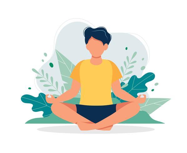 Mann, der in der Natur und in den Blättern meditiert. Konzeptillustration für Yoga, Meditation, entspannen sich, Erholung, gesunder Lebensstil. Vektorillustration in der flachen Karikaturart vektor