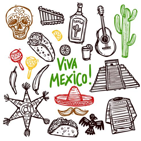 Mexiko-Doodle-Set vektor