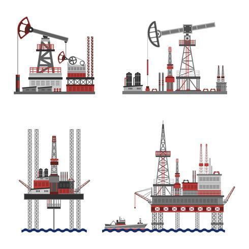 olja petroleum plattformsuppsättning vektor