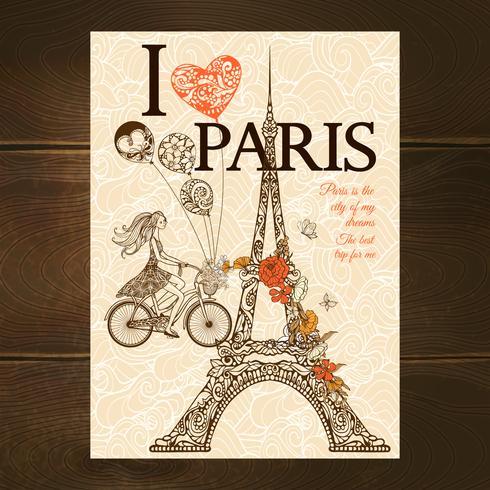 Vintage Paris affisch vektor