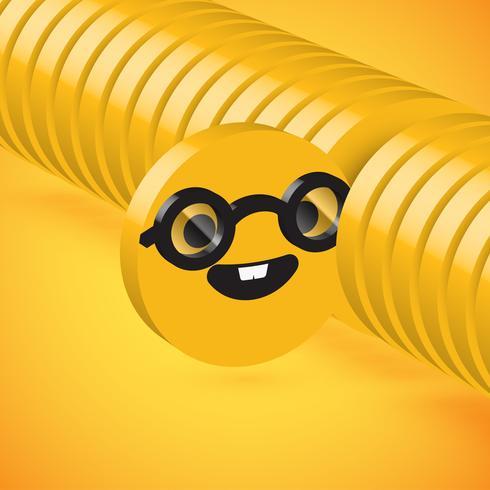 Gelber hoher ausführlicher Emoticon der Scheibe 3D ausgewählt, Vektorillustration vektor