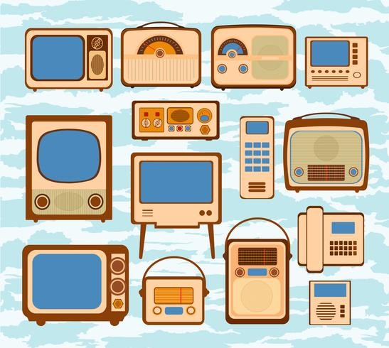 Set Broadcast Vektor Illustrationen Symbol