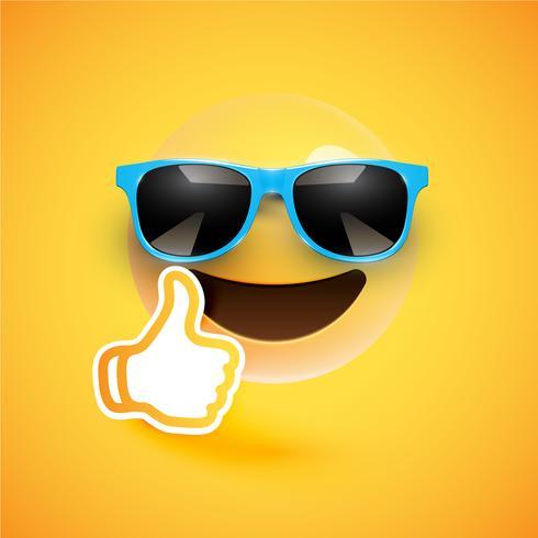 Realistischer Emoticon mit Sonnenbrille und Daumen oben, Vektorillustration vektor