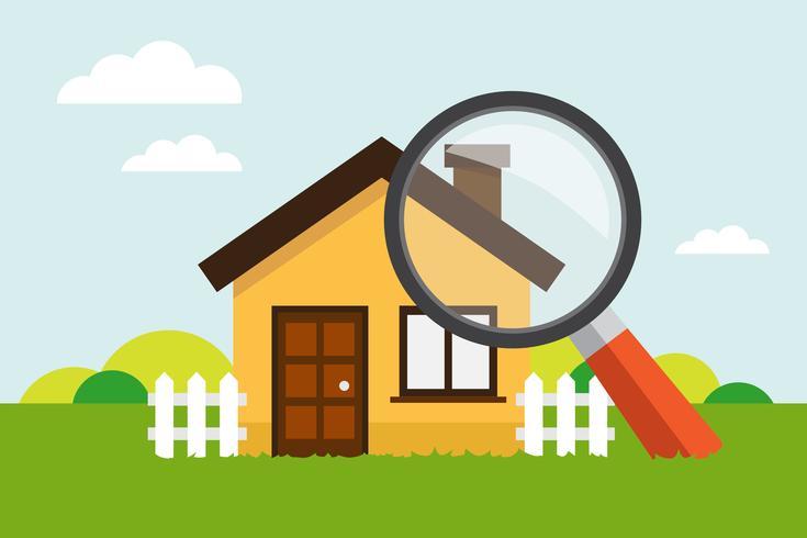 Haus mit Lupe vektor