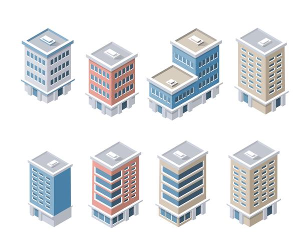 Set av moderna isometriska byggnader vektor