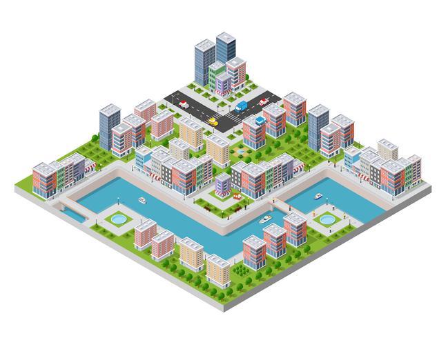 Isometrische Abbildung einer Stadtufergegend vektor