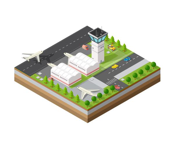 Stadtflughafen mit Transport vektor