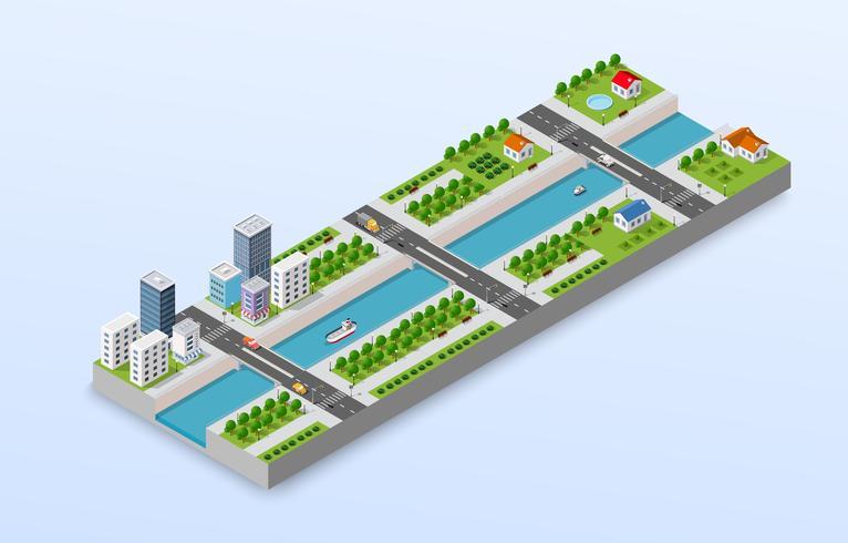Isometrisk illustration av en stad vektor