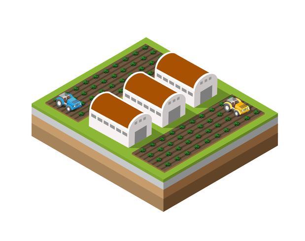 Farm Isometrisch dimensioniert vektor