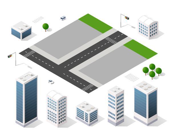 Set moderne isometrische Gebäude vektor