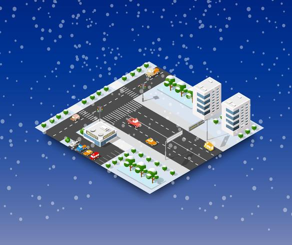 City vinterlandskap vektor