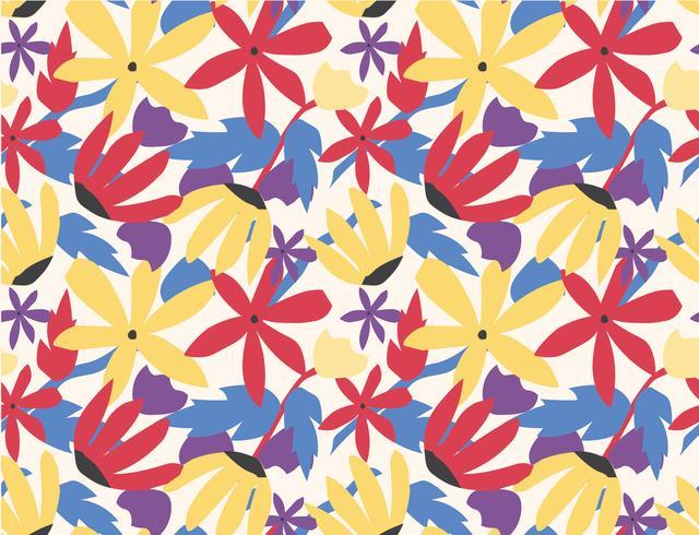 sömlös mönster färgstark blomma popkonst stil vektor