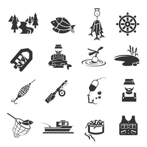 Set von Fischerei-Icons vektor