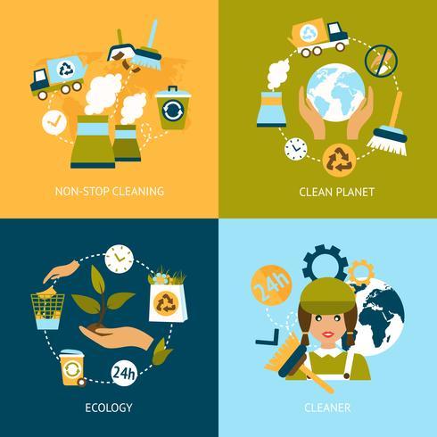 Ekologiska plana ikoner vektor