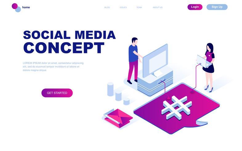 Isometrisches Konzept des modernen flachen Designs des Social Media vektor