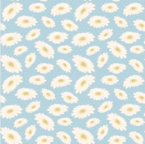 sömlös vintage mönster handgjord vit tusensköna blomma vektor