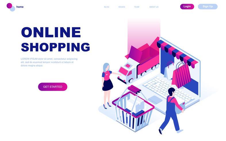 Modernt plandesign isometrisk koncept för Online Shopping vektor