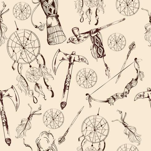 Nahtloses Muster des ethnischen amerikanischen Ureinwohners vektor