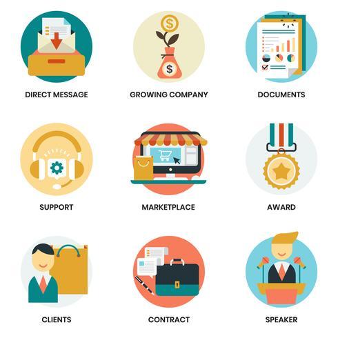 Affärsymboler som ställs för affärer, marknadsföring vektor