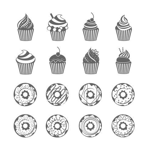 Donut-Cupcake-Symbole vektor