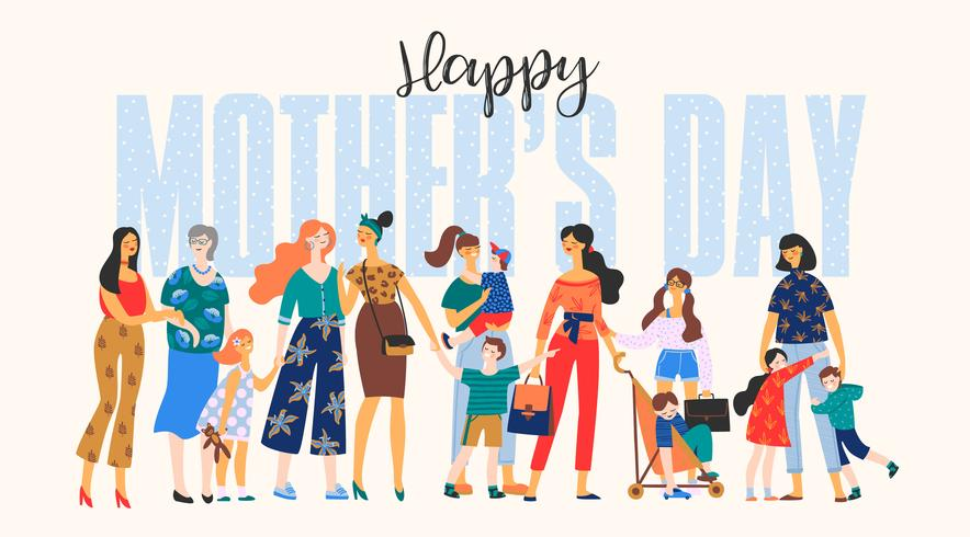 Glad mors dag. Kvinnor och barn. vektor