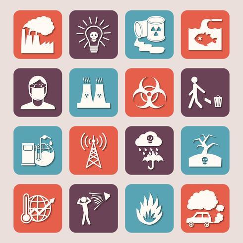 Verschmutzungs-Icons Set vektor