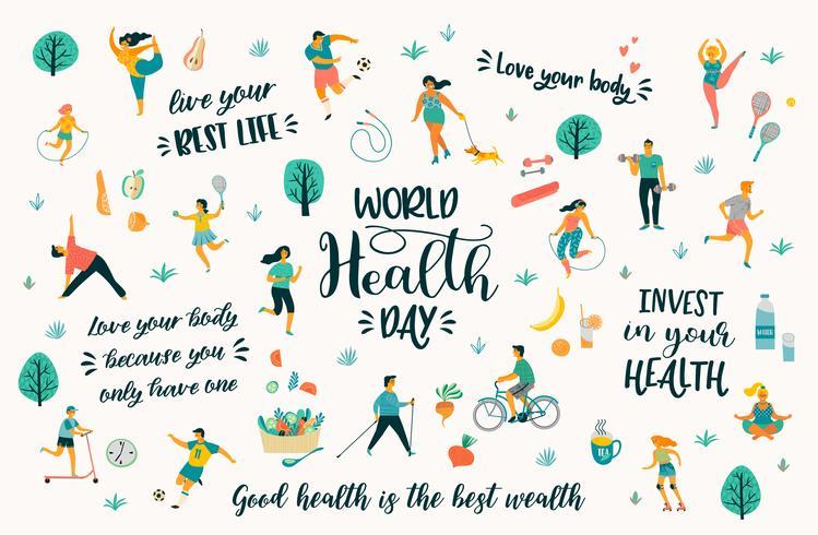 Weltgesundheitstag mit Menschen, die einen aktiven, gesunden Lebensstil und Zitate führen. vektor