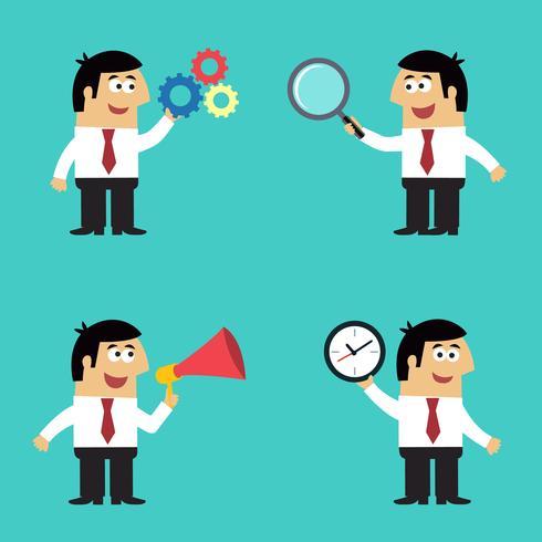 Angestellter des Geschäftslebens mit Bürogeräten vektor