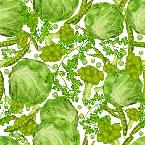 Nahtloses Muster des grünen Gemüses vektor
