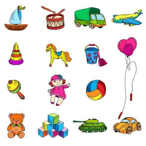 Spielzeug Skizze Icons Set vektor