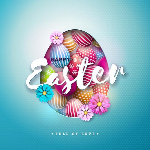 Vektor-Illustration von fröhlichen Ostern-Feiertag mit gemaltem Ei und Frühlingsblume auf glänzendem blauem Hintergrund. vektor