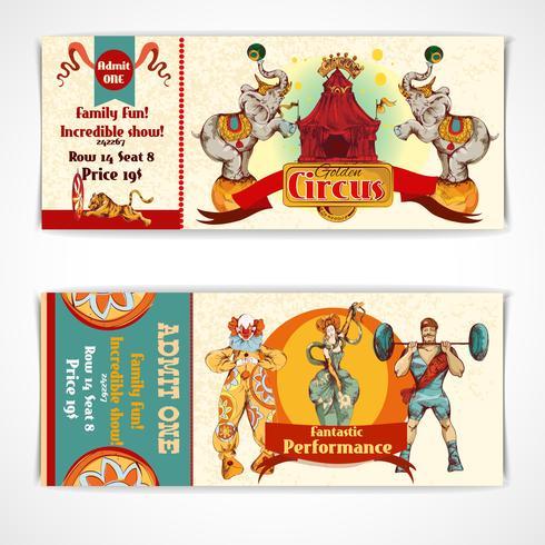Cirkus vintage biljetter set vektor