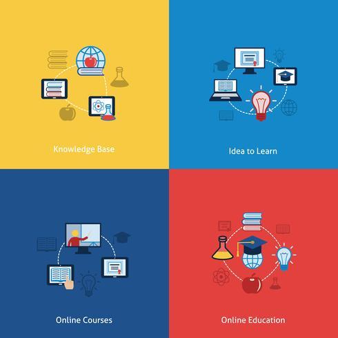 Onlineausbildungsikone flach vektor