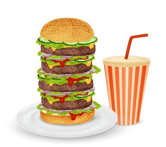 Großer Hamburger und Getränk vektor