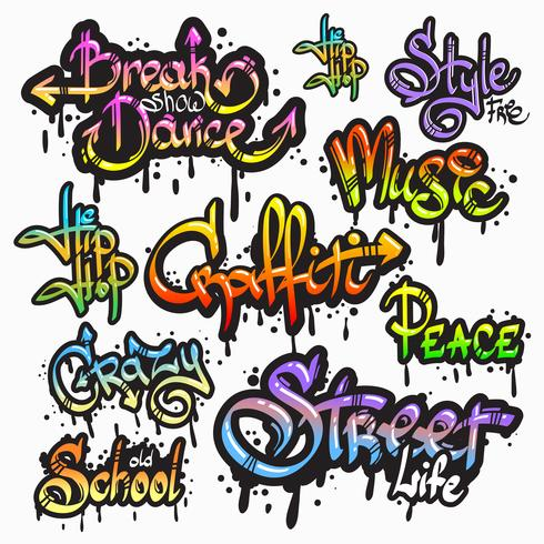 graffiti word set vektor