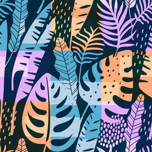 Seamless exotiskt mönster med tropiska växter. Vektor bakgrund.