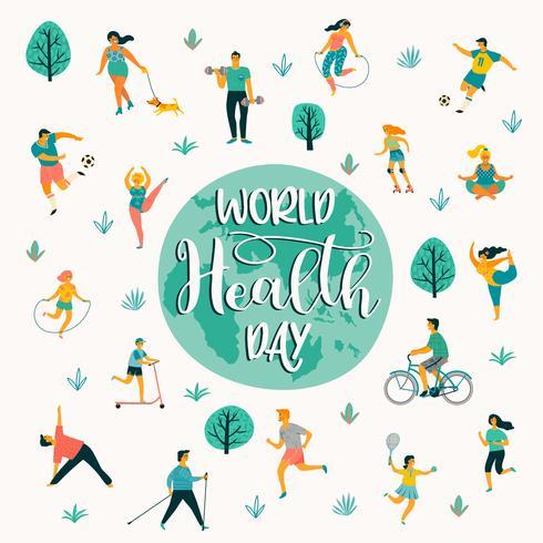 Världshälsodagen. Vektor illustration av människor som leder en aktiv hälsosam livsstil.