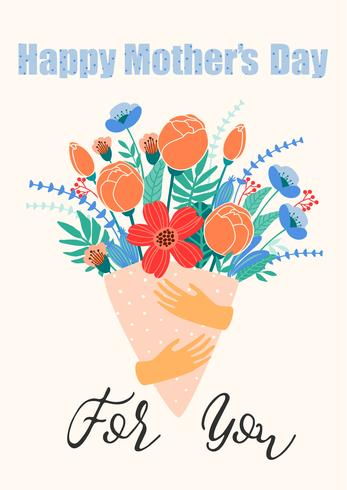 Glad mors dag. Kvinnor och blommor. vektor
