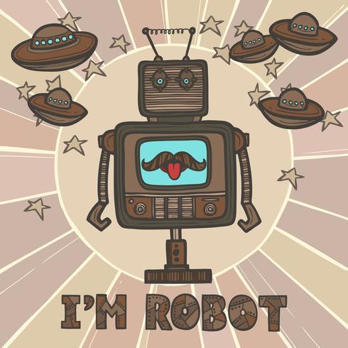 hipster robot design vektor