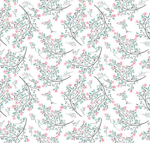 rosa blomma gröna blad sömlösa mönster vektor