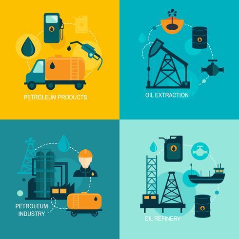 Oljeindustrin platt komposition vektor