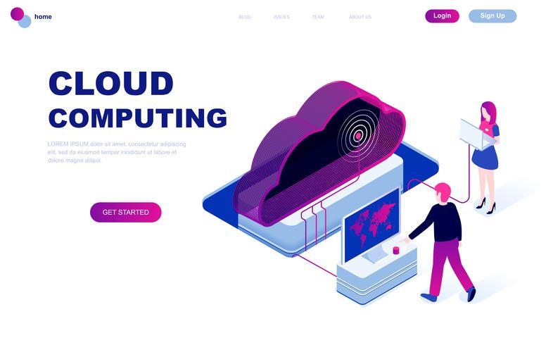 Modernt plandesign isometrisk koncept Cloud Technology vektor