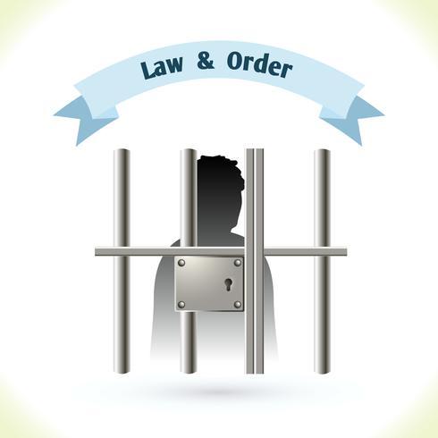 Gesetzesikone Gefangener im Gefängnis vektor