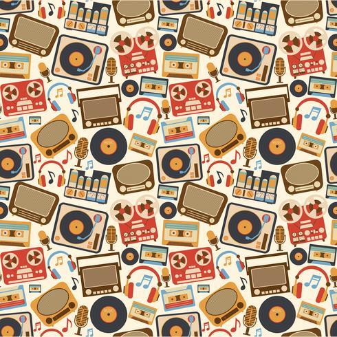 Musik retro sömlöst mönster vektor