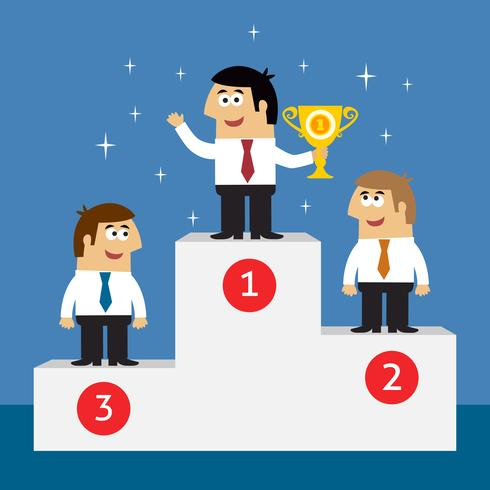Affärslivet anställda på vinnare podium vektor