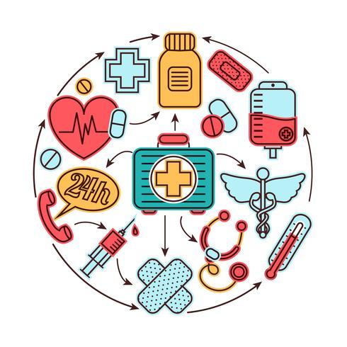 Medicinska ikoner koncept vektor