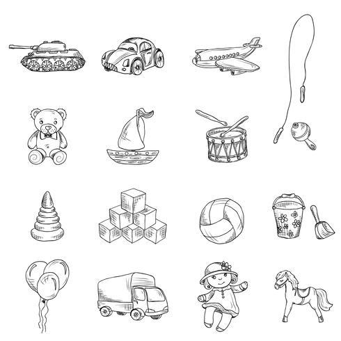 Leksaker Sketch Icons Set vektor