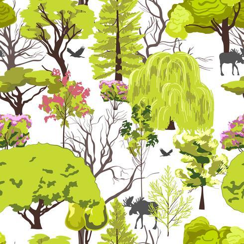 Skogs trädskiss sömlös vektor
